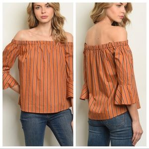 MINE striped off shoulder cotton top bell sleeves